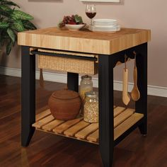 Lowest price on Powell Color Story Black Kitchen Island With Butcher Block Top Shop today! Kitchen Island With Butcher Block Top, Butcher Block Tables, Black Kitchen Island, Kitchen Tops, Butcher Blocks, Kitchen Islands, Kitchen Carts, Kitchen Hutch, Butcher Block Cart