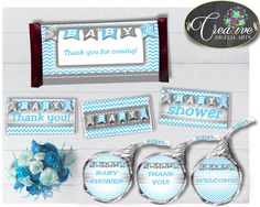 Baby shower CANDY BAR decoration wrappers and labels printable with chevron blue color theme for boys, Jpg Pdf, instant download - cbl01 #babyshowergifts #babyshowerideas