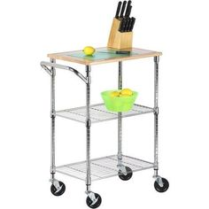 Honey-Can-Do-2-Shelf-Urban-Rolling-Cart-Chrome possibly for patio to use next to grill