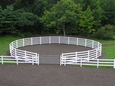 Round pen connected to arena. Great idea plus it looks really nice. The only think Id change would be that Id add another gate on the outside of the round pen. Horse Paddock, Horse Arena, Horse Horse, Dream Stables, Dream Barn, Horse Barn Plans, Future Farms, Horse Ranch, Horse Property