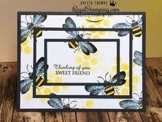 card making techniques How to Make a Stacked Honey Bee Card in Minutes Fancy Fold Cards, Folded Cards, Stamping Up Cards, Rubber Stamping, Card Making Templates, Honey Bee Stamps, Bee Cards, Card Making Techniques, Card Tutorials