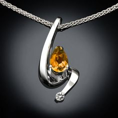citrine necklace  Argentium silver  white by VerbenaPlaceJewelry