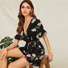 To find out about the Flower Surplice Neck Flounce Sleeve Belted Romper at SHEIN, part of our latest Jumpsuits ready to shop online today! Boho Romper, Playsuit, Rompers Women, Jumpsuits For Women, Summer Romper, Affordable Clothes, Types Of Sleeves, Fashion News, Fashion Beauty