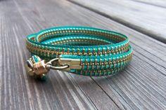 Zipper Bracelet  Teal by kschultz1 on Etsy, $15.00