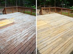 How to strip stain off a deck with Behr Wood Stain & Finish Stripper and Behr Premium All in One Wood Cleaner. Didn't powerwash as it can splinter the wood and leave it less smooth.