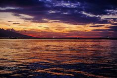 sunset in my hometown - sunset in izmir on a calm autumn day with a view of the bay.