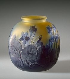 Vase Decorated with Violets Manufactory of Emile Galle France, Nancy. 1930s.