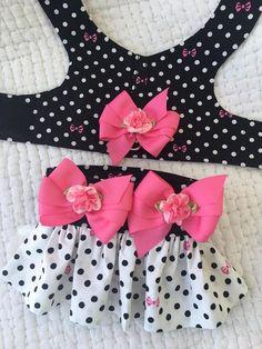 Dog Clothing Polka Dot Dog Harness with skirt or can exchange for diaper for Girl Dog Custom Made - Hot Topic Clothes, Puppy Clothes, Girl Dog Clothes, Dog Clothes Patterns, Pet Fashion, Dog Pattern, Girl And Dog, Dog Harness, Dog Leash