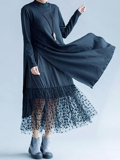 Elegant Women Lace Large Hem Long Sleeve Double Layers Maxi Dresses Shopping Online - NewChic Mobile.