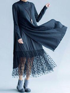 Elegant Mulheres Lace Large Hem Long Sleeve Camadas duplas Maxi Vestidos