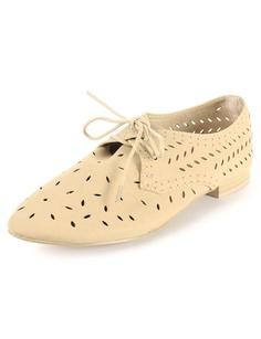 Laser Cut Oxford Shoes | $13.50 | Trendy Cheap | Flats | Beige | MODdeals.com