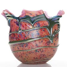 Humler & Nolan | Monumental Charles Lotton Cypriot vase drizzled with blue aurene Lava