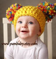 Items similar to Toddler Baby Girl Hat Chunky Yellow Pink White Blue Purple pastel Crochet Knit Infant Double Pom Pom Beanie Photography Prop on Etsy - knitting christmas Crochet Baby Hats, Crochet Beanie, Crochet For Kids, Baby Knitting, Crochet Toddler, Knitted Baby Beanies, Beginner Knitting, Booties Crochet, Baby Sweaters