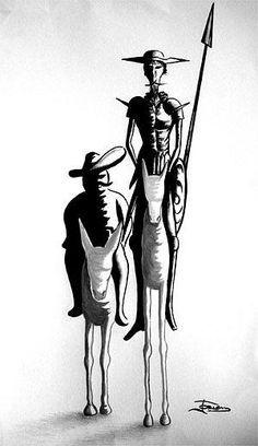 quijote dela mancha dibujo - Buscar con Google | Blanco y Negro ...