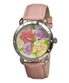 Silver & Light Pink Mother-of-Pearl Angela Leather-Strap Watch #zulily #zulilyfinds