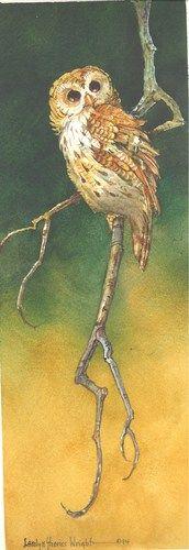 Owl Sentinel II 12 x 4 watercolor $77.00