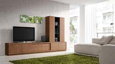 Composición de muebles modernos para albergar la televisión y otros objetos. La composición, con una anchura total de 278 cm, está formada por un completo y práctico mueble bajo de 278 cm. de ancho, 50 cm. de alto y 46 cm. de fondo, compuesto por dos módulos de puertas y un módulo de cajones, todos revestidos y unificados con una carcasa de 4 cm. de grosor, para dar al conjunto un carácter compacto y robusto.