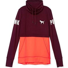 Victorias Secret PINK Ultimate High Neck Pullover Maroon Fire Coral XSmall * ** AMAZON BEST BUY **