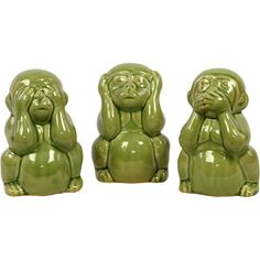 3-Piece Wise Monkey Decor Set in Green