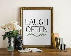 Instant 'Laugh Often' Quote Printable Wall by mylovenotedesigns