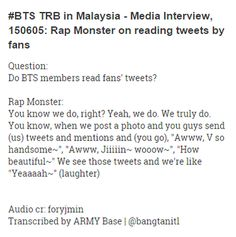 #BTS TRB in Malaysia Media Interview,150605 RapMon on reading tweets from fans cr foryjmin https://soundcloud.com/foryjmin/150605btsinmy-q7 …