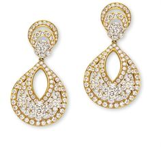 Valenciennes Ear Pendants by Van Cleef & Arpels | Diamonds set in gold-plated platinum