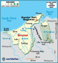 The small country of Brunei is situated on the northwestern edge of the island of Borneo...