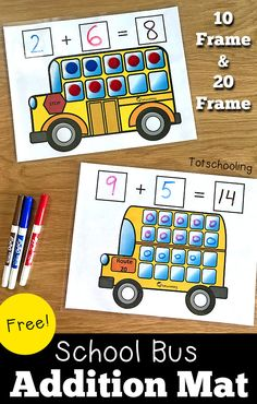 FREE printable addition mats featuring a school bus, perfect for kindergarten math and learning to Kindergarten Math Games, Math Activities For Kids, Fun Math Games, Preschool Math, Math Classroom, Teaching Math, Kindergarten Addition, Maths, Math Stations