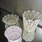 doily bowls. use fabric stiffener!
