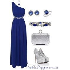 Christmas outfit. Blue maxi dress and silver accessories - Polyvore