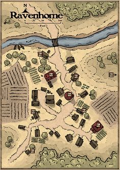 [ART] Village map of Ravenhome Fantasy City Map, Fantasy World Map, Fantasy Map, Fantasy Artwork, Art Village, Fantasy Village, Forest Village, Plan Ville, Pathfinder Maps