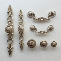 French Shabby Chic Dresser Drawer Pulls Handles / Antique Silver Kitchen Cabinet Pull Handle Knobs Furniture Hardware