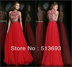 New Arrival Chiffon Long Scoop Neck Slim Custom Made High Quality Sparkle Rhinestone Luxurious Crystal Red Prom Dress 2014