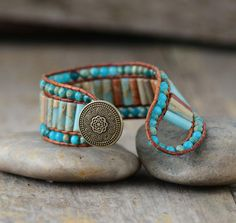 Handmade Bohemian Style Natural Stone Vintage Leather Wrap Bracelets For Women Bohemian Bracelets, Handmade Bracelets, Fashion Bracelets, Beaded Cuff Bracelet, Stone Bracelet, Wrap Bracelets, Statement Bracelets, Crochet Bracelet, Pandora Bracelets