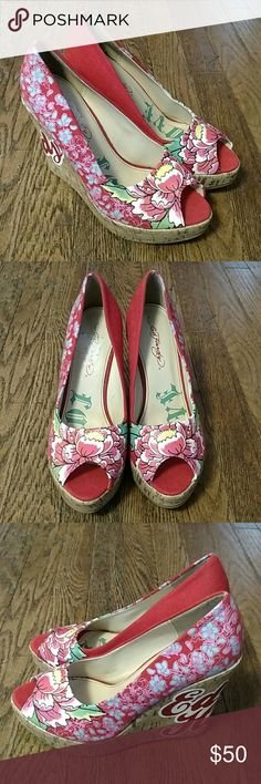 New Ed Hardy Platform Wedge High Heel Shoes Size 7 This is a new Ed Hardy red floral pattern platform wedge high heel shoes size 7. They still have stickers at the bottom of the soles but there is no box. Ed Hardy Shoes Wedges
