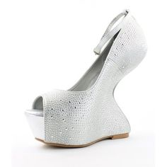 """Show them you can """"work it"""" strutting your stuff in these! Bonus for only $39.00 LILIANA Platform High Heels Heel less Curved Wedge Shoes Embellished Silver"""