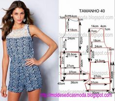 Portuguese site with illustration and measurements showing how to draft this easy overall in a size 40 Dress Sewing Patterns, Sewing Patterns Free, Clothing Patterns, Romper Pattern, Jumpsuit Pattern, Sewing Pants, Sewing Clothes, Diy Fashion, Ideias Fashion