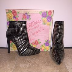 Jeffrey Campbell Gauntlet bootie Stiletto black patent leather bootie with silver studs all over. BRAND NEW- never worn! Comes with original box. Firm on price - ️️preferred Jeffrey Campbell Shoes Ankle Boots & Booties