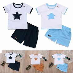 66432aa89 Clothing Boys Children Clothes Set T-shirt + Shorts Star Printed Tops  Outfits