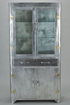 Awesome Metal Cabinet with Glass Doors