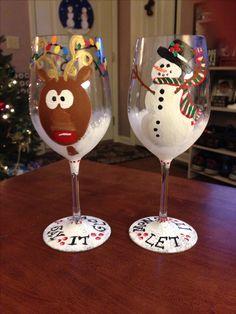 dbd9f9aaff6 Christmas wine glass set I painted for my sister mjh Diy Wine Glasses