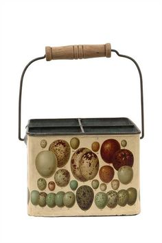 Reproduction Egg Art on Tin Bucket w/ 4 Sections
