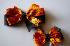 18 Inch Dolly and Me Matching Halloween Spiderweb Hair Bow Girls Pinwheel…