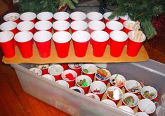 Keep ornaments and other small Xmas items safe - red solo cups! 150 Dollar Store Organizing Ideas and Projects for the Entire Home - Page 10 of 15 - DIY & Crafts Christmas Hacks, Noel Christmas, Christmas And New Year, Winter Christmas, All Things Christmas, Christmas Ornaments, Christmas Storage, Holiday Storage, Christmas Bingo