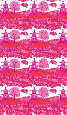 Cloud_Pagoda-deep orange/Magenta fabric by danikaherrick on Spoonflower - custom fabric