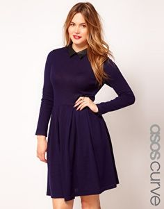 89300833918d7 ASOS CURVE Exclusive Knitted Fit And Flare Dress With Leather Look Collar  Love Clothing