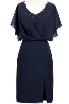 ORIENT BRIDE Modern Scoop Short Sleeve Sheath Mother of the Bride Dresses Size 2 US Navy Blue