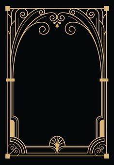Motif Art Deco, Art Deco Design, Bullet Journal Inspiration, Bullet Journal Ideas Pages, Art Deco Logo, Game Card Design, Boarder Designs, Art Deco Invitations, Free Birthday Invitation Templates