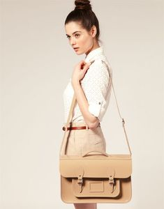 cambridge satchel in nude/beige- pleaseee, with my initials embossed on it in gold    Maybe a smaller size