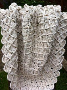bavarian crochet | Woollen Oatmeal Bavarian Crochet Lap Blanket or... - Folksy